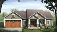 Home Plan HOMEPW76706 - 1627 Square Foot, 3 Bedroom 2 Bathroom + Cottage Home with 2 Garage Bays | Homeplans.com