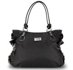 "OOYOO diaper bag ""Christina"" black noir hobo tote - front view"