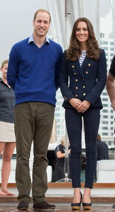 Kate Middleton in Zara and J Brand For a visit with military members and their families at Whenuapai Air Base, Kate went preppy nautical in a Zara double-breasted blazer, a Me + Em Breton shirt, J Brand skinny jeans, and her fave wedges from Russell & Bromley. (She wore a similar outfit for a high-profile game of volleyball back in October.) Kate's blazer cost a reasonable $135 (#79.99) and a similar version is available online for $139.