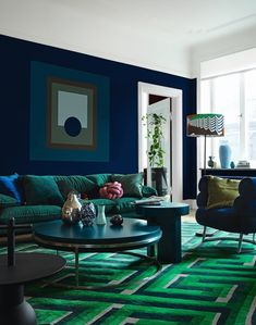 Living room Color Schemes for Interior Design and decoration. Look for inspiration, design tips, col Blue Living Room Decor, Living Room Color Schemes, Living Room Colors, Living Room Paint, Living Room Carpet, New Living Room, Living Room Modern, Home Interior, Decor Interior Design