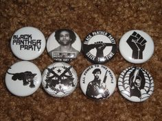 Black-Panther-Party-Set-Of-8-Buttons-Pins-Badges-All-Power-To-The-People