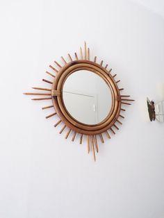 French rattan sunburst Mirror vintage  starbust  by PopVintages