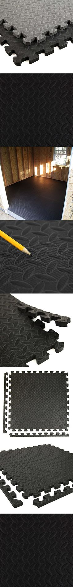 Incstores Diamond Soft Extra Thick Anti Fatigue Interlocking Foam Tiles (12 Pack, Black) - 2ft x 2ft Tiles Ideal for Laundry Room Flooring, Kitchen Mats, Exercise Mats, Garage Mats and More