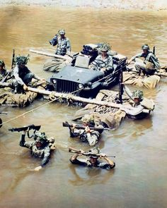 JEEP CROSSING THE RIVER, PACIFIC WAR