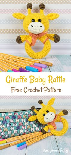 This eye-catching crochet giraffe rattle is a great sensory toy for baby and oh so pretty to look at! Create it with all your love and care for your little one with the help of our step-by-step Giraffe Baby Rattle Crochet Pattern. Crochet Baby Blanket Beginner, Crochet Baby Toys, Crochet Baby Booties, Crochet Patterns Amigurumi, Cute Crochet, Crochet Dolls, Kids Crochet, Amigurumi Giraffe, Diy Bebe
