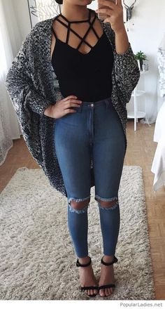 Black top and sandals with jeans and grey cardi