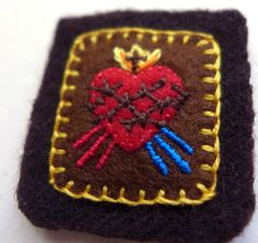 Embroidered Brown Scapular: Sacred Heart of Jesus with Divine Mercy Design and Immaculate Heart of Mary