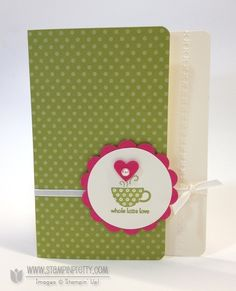 "Whole Latte Love    Stamps: Patterned Occasions  Paper: Stampin' Up! 2011-2013 In Color Designer Series Paper Stack, Melon Mambo, Very Vanilla  Ink: Lucky Limeade  Accessories: Very Vanilla 1/8"" Taffeta Ribbon, Pearl Basic Jewels"