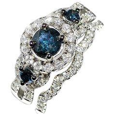 Blue Diamond Bridal Wedding Set 1.3ct 10k White Gold Halo with Round Solitaire Split Shoulder Rings-MidwestJewellery.com http://www.amazon.com/dp/B00DP7AP96/ref=cm_sw_r_pi_dp_VCZcub1GVMQ5H