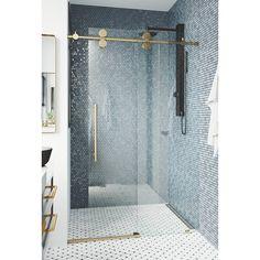VIGO Elan x Single Sliding Frameless Shower Door with RollerDisk™ Technology Finish: Gold Bad Inspiration, Bathroom Inspiration, Bathroom Renos, Small Bathroom, Ada Bathroom, Frameless Shower Doors, Bathroom Shower Doors, Master Bath Shower, Dream Bathrooms
