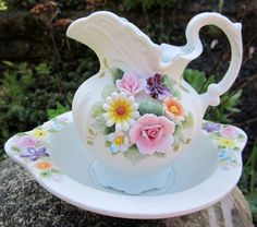 Lefton Pitcher China Bisque Flowers Capodmonte Bowl Under Plate Raised Gold