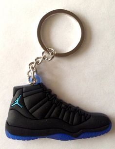 sports shoes 2f8e2 ff330 Air Jordan XI 11 Gamma Blue Black Blue Chicago Bulls Sneakers Shoes  Keychain Keyring AJ