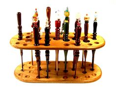Handmade Wood Crochet Hook Display Stand Cherry Wood. $49.99, via Etsy.