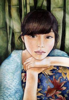 chica con impresión de arte de bambú
