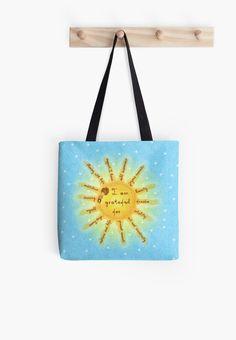 #gratitude #beinggrateful #blue #yellow #sun #totebag #giftideas #gifts #cartoons #watercolors