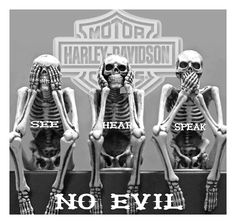 See no evil. Hear no evil. Speak no evil. Art Harley Davidson, Harley Davidson Motorcycles, Three Wise Monkeys, Rock Poster, See No Evil, Skeleton Art, Skeleton Dance, Skull And Bones, Skull Art