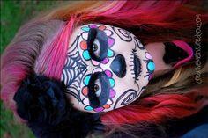 halloween, makeup,  diy, costume, ideas, costume ideas, oct 31, girls, kids, tweens, face paint, spooky makeup, makeup,  creepy, spooky, face,, realistic, sugar skull, dia de los muertos, skull