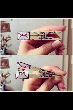 "This is a cool thing you can do with just a clothes pin, a piece of paper, glue, and some markers! Take the clothes pin and write,"" You have a message"" on the side as shown in the picture. Then design your own envelope where I have drawn it. Take your piece of paper and write a message to someone. Finnally, glue both ends as seen in the picture and vuala! You have a message!"