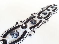 Black and White Beadweaving Bracelet Longer Size by dorothydomingo, $85.00