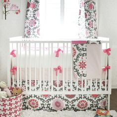 Stylish girl crib bedding in stock and made in the USA. Our baby girl bedding includes florals, buffalo check, linen and more. Shop unique baby bedding & sheets made in the USA! Baby Crib Bedding Sets, Crib Sets, Nursery Bedding, Baby Cribs, Girl Nursery, Nursery Ideas, Girl Room, Nursery Inspiration, Nursery Decor