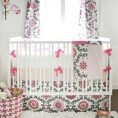 sophisticated sweetness! Featured Premier Fabrics: Rosa Flamingo (window panels, blanket & crib skirt)