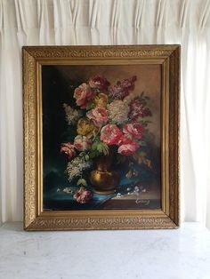 Check out this item in my Etsy shop https://www.etsy.com/listing/587122210/antique-french-oil-flower-painting-on