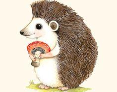 Woodland nursery, Hedgehog print, forest animal, Hedgehog illustration, animal alphabet print, H is for Hedgehog, French alphabet