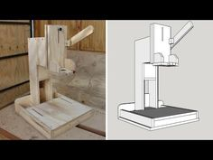 Drill Stand for Hand Drill Diy Projects Plans, Wooden Projects, Wood Crafts, Home Tools, Diy Tools, Drill Jig, Tile Cutter, Garage Tools, Drill Press