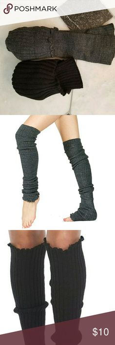 Leg warmers, 2 pairs **Black leg warmers made by Foot Traffic (tag missing), 100% acrylic, approximately 22 inches long.   **Heather gray leg warmers by KD dance NY (with tag), 96% acrylic, 2% nylon, 2% Lycra, approximately 28 inches long and reach the thigh.   **Both can be worn as arm warmers.   **Washed but never worn. EUC. Foot Traffic and KD Dance NY Accessories