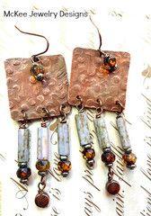Rain. Copper textured squares, Czech glass earrings. Metal, mdoern., boho jewelry.
