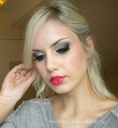 Grey eyeshadow and a bright lip :)