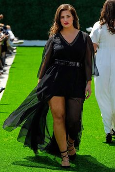 919d20130011 Model Ashley Graham walks in the Christian Siriano for Lane Bryant Show.  This sheer,