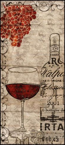 """""""Vintage Reds"""" by Lisa Wolk - Wine Bottle & glass Typography Art Print #grapes #cCreams #cRed"""