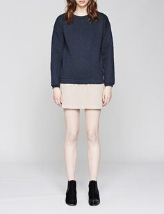 Native Youth Micro Blocks Textured Quilted Navy Crew Sweat
