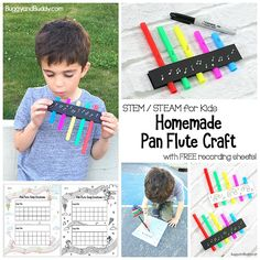 STEM / STEAM for Kids: Explore sound with homemade pan flute craft. Includes free printable recording sheets to record your own songs!