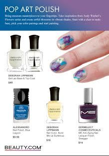 DIY Andy Warhol inspired floral nails. Start with a clear or nude base, pick your color pairings and start painting! Visit Beauty.com for more DIY nail art.