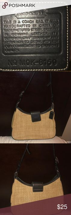 Coach Straw Mini-Bag Authentic Coach Straw mini purse. Interior is great  condition! 6be2ff636c942