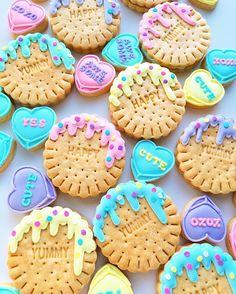 Acornmilk Sweets Cute Desserts, Delicious Desserts, Macarons, Teenager Party, Sugar Cookies Recipe, Cookie Recipes, Diy Love, Kawaii Dessert, Custom Cookie Cutters