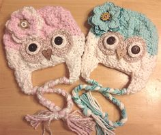 baby girl Pink & Aqua OWL hat's