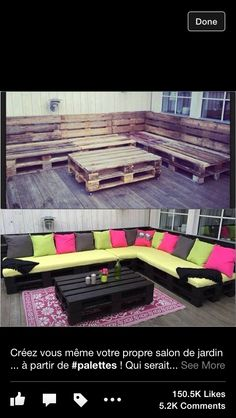 Outdoor furniture made from pallets. Awesome!