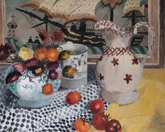 Still Life with Victorian Embroidery, by Joan Warburton.
