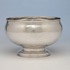Joseph Sanders George II Antique Sterling Silver Punch Bowl, London, 1735/36