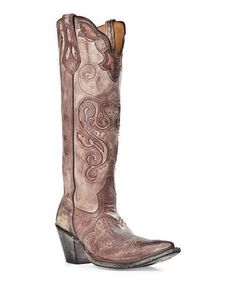 Love this Brown Studded Distressed Leather Knee-High Cowboy Boot - Women by Johnny Ringo Boots on #zulily! #zulilyfinds