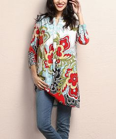 Look at this #zulilyfind! White & Red Floral Notch Neck Shift Tunic #zulilyfinds