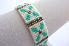 miyuki bracelet pattern, pattern for beginners, flower pattern, DIY miyuki bracelet pattern, green pattern, white pattern, pdf pattern loom