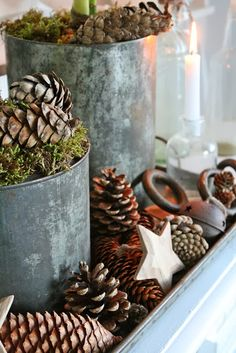 50 Eco-friendly Holiday Decorations Made of Pine Cones . xmas ideas with pine cones Natural Christmas, Noel Christmas, Primitive Christmas, Country Christmas, Winter Christmas, All Things Christmas, Vintage Christmas, Christmas Ideas, Christmas Ornaments