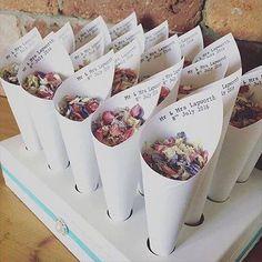 Wedding confetti mr & mrs confetti cones in 2019 weedding pl Wedding Send Off, Wedding Exits, Brunch Wedding, Our Wedding, Dream Wedding, Wedding Ideas, Wedding Signs, Wedding Flower Arrangements, Wedding Centerpieces