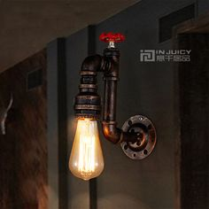 55.00$  Buy now - http://aliemd.worldwells.pw/go.php?t=32762597433 - Vintage Retro Industrial Led Water Pipe Sconces Wall Lamp Light Fixtures Edison Bar Loft Bedroom Balcony Living Room Lighting 55.00$