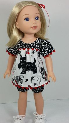 Wellie Wisher Doll Clothes, Fun Doggie Play Outfit with Bloomers, American Made to Fit 14 Inch Girl Doll