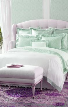 mint and lavender bedding~lovely. Forget the bedding, I want  the bed!
